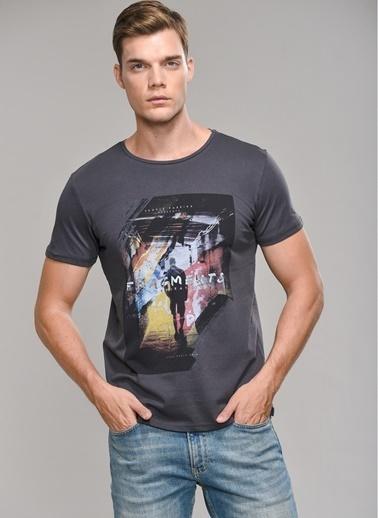 People By Fabrika Baskılı Tişört Gri